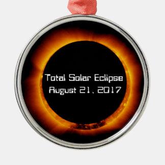 Ornement Rond Argenté Éclipse 2017 solaire totale