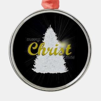 Ornement Rond Argenté Écriture d'or d'ornement d'arbre de Noël encadrée