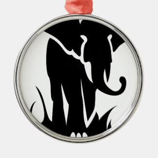 Ornement Rond Argenté Éléphant majestueux