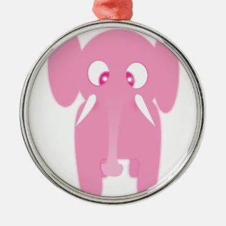 Ornement Rond Argenté elephant rose