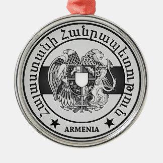 Ornement Rond Argenté Emblème rond de l'Arménie