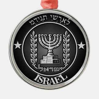 Ornement Rond Argenté Emblème rond de l'Israël