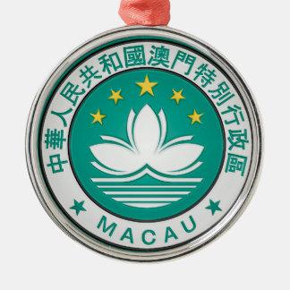 Ornement Rond Argenté Emblème rond de Macao