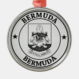 Ornement Rond Argenté Emblème rond des Bermudes