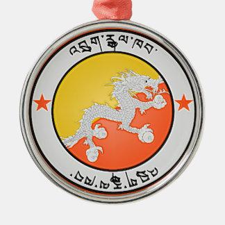 Ornement Rond Argenté Emblème rond du Bhutan