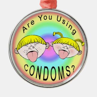 Ornement Rond Argenté Enfants de préservatif