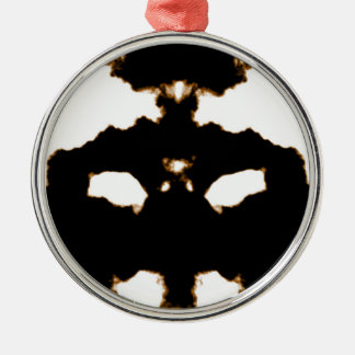 Ornement Rond Argenté Essai de Rorschach d'une carte de tache d'encre