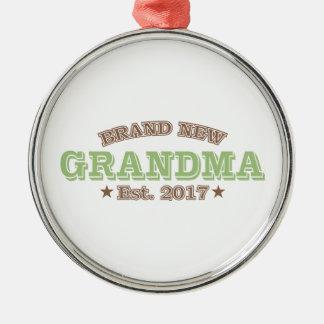 Ornement Rond Argenté Est tout neuf de grand-maman. 2017 (vert)