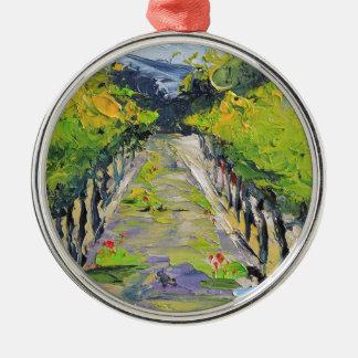 Ornement Rond Argenté Établissement vinicole de la Californie, vignes de