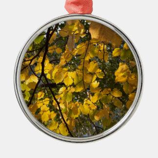Ornement Rond Argenté Feuille d'automne jaune et vert