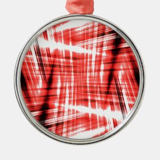 Ornement Rond Argenté Filets noirs et rouges dynamiques