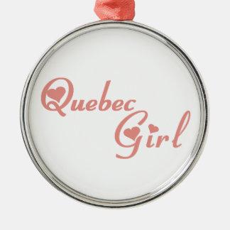 Ornement Rond Argenté Fille du Québec