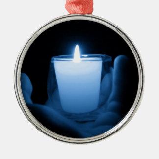 Ornement Rond Argenté Flamme bleue