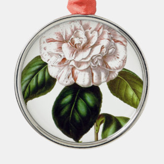 Ornement Rond Argenté Fleur de Camille
