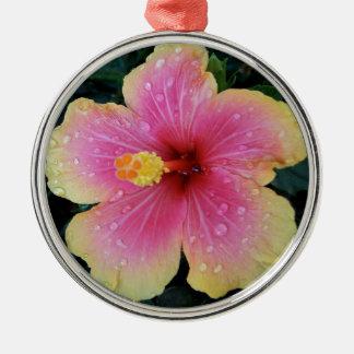 Ornement Rond Argenté Fleur de Hawaïen de ketmie