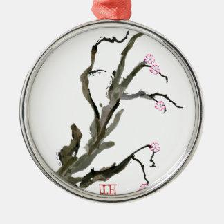 Ornement Rond Argenté Fleurs de cerisier 15 Fernandes élégant