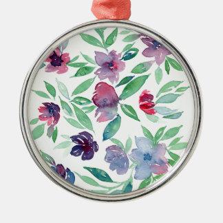 Ornement Rond Argenté Floral libre - verdure bleue, pourpre, verte de