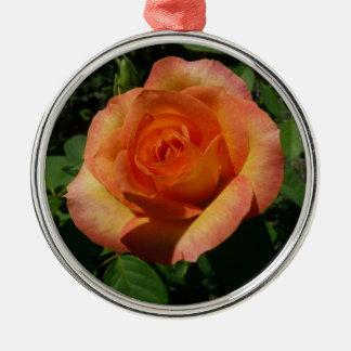 Ornement Rond Argenté Floral orange de rose de pêche