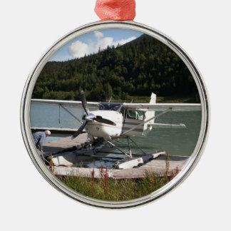 Ornement Rond Argenté Flottez plat, lac trail, Alaska 2