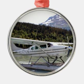 Ornement Rond Argenté Flottez plat, lac trail, Alaska 3