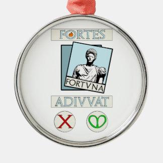 Ornement Rond Argenté Fortes Fortuna Adiuvat