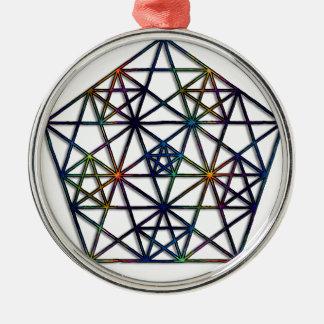 Ornement Rond Argenté Fractale sacrée de la géométrie d'abondance de la
