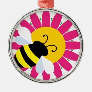 Ornement Rond Argenté Gaffez l'abeille sur la fleur