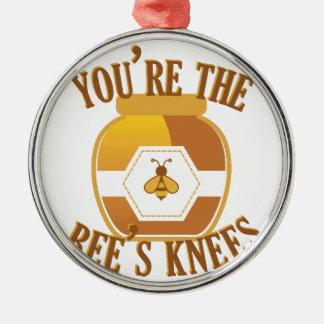 Ornement Rond Argenté Genoux d'abeilles