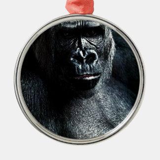 Ornement Rond Argenté Gorille