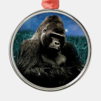 Ornement Rond Argenté Gorille dans le pré