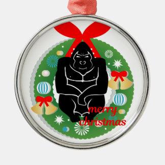Ornement Rond Argenté gorille de Joyeux Noël