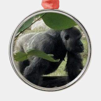 Ornement Rond Argenté Gorille de Silverback