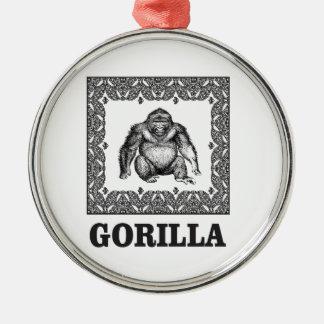 Ornement Rond Argenté gorille enfermé dans une boîte