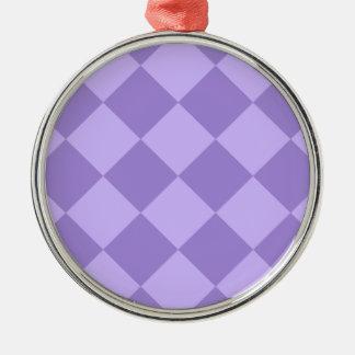 Ornement Rond Argenté Grand Checkered de Diag - violet et violet-clair