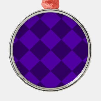 Ornement Rond Argenté Grand Checkered de Diag - violette violette et