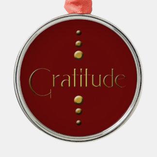 Ornement Rond Argenté Gratitude de bloc d'or de 3 points et arrière -