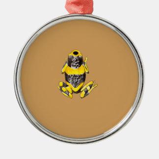 Ornement Rond Argenté Grenouille jaune et noire par espièglerie adorable