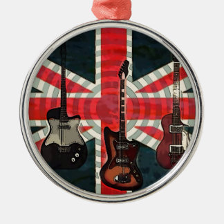 Ornement Rond Argenté Guitare électrique d'Union Jack de drapeau de
