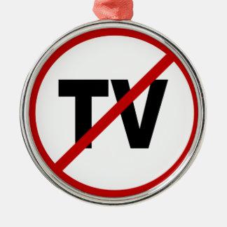 Ornement Rond Argenté Haine TV /No TV permis la déclaration de signe