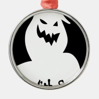 Ornement Rond Argenté Halloween-visage éffrayant
