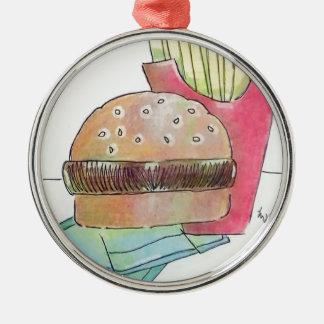 Ornement Rond Argenté Hamburger avec des fritures