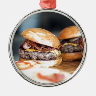 Ornement Rond Argenté Hamburgers