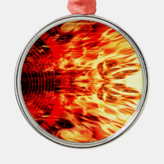 Ornement Rond Argenté Haut-parleur de musique avec des flammes