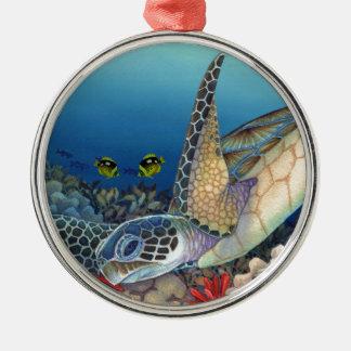 Ornement Rond Argenté Honu (tortue de mer verte)