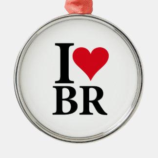 Ornement Rond Argenté I Love Brésil BR Edition