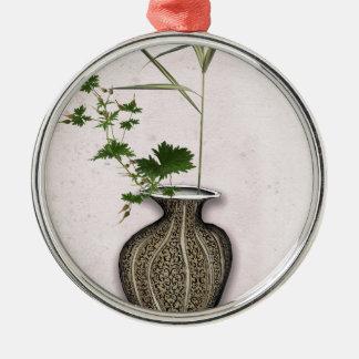 Ornement Rond Argenté Ikebana 5 par les fernandes élégants