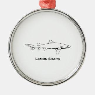 Ornement Rond Argenté Illustration de requin de citron