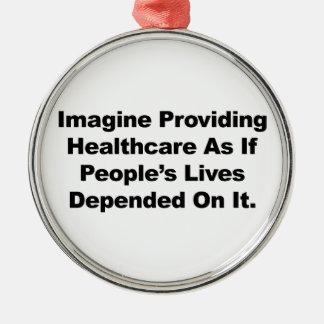 Ornement Rond Argenté Imaginez les vies des personnes de soins de santé