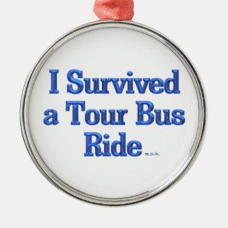 Ornement Rond Argenté J'ai survécu à une médaille ronde de tour de bus