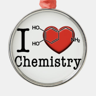 Ornement Rond Argenté J'aime la chimie